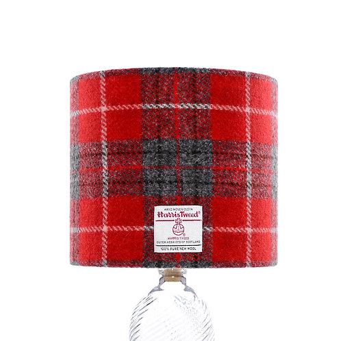 Red & Grey Tartan Harris Tweed Lampshade