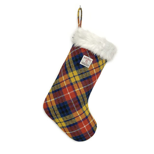 Yellow, Blue & Red Buchanan Tartan Harris Tweed Christmas Stocking