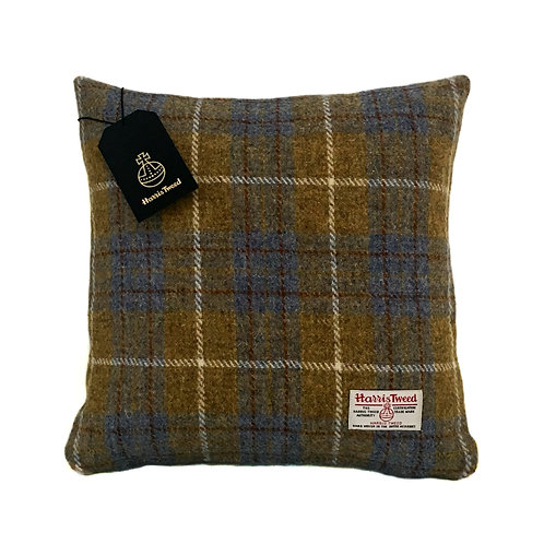 Blue & Mustard Tartan Check Harris Tweed Cushion Cover