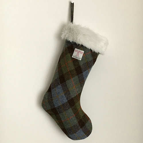 Hunting MacLeod Green & Blue Tartan Harris Tweed Christmas Stocking