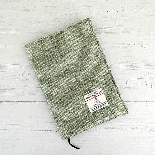 Sage Green Barleycorn Harris Tweed Padded A5 Notebook Cover