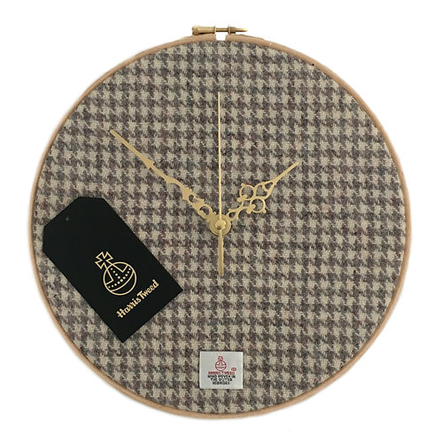 Beige and Grey Houndstooth Harris Tweed Wall Clock
