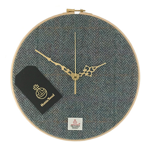 Rainbow Blue Herringbone Harris Tweed Wall Clock
