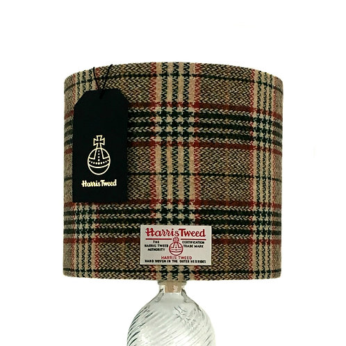 Cream, Green and Red Tartan Harris Tweed Lampshade