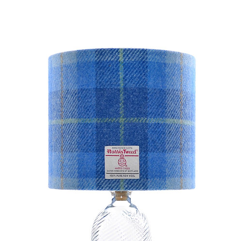 Pastel Blue Tartan Harris Tweed Lampshade