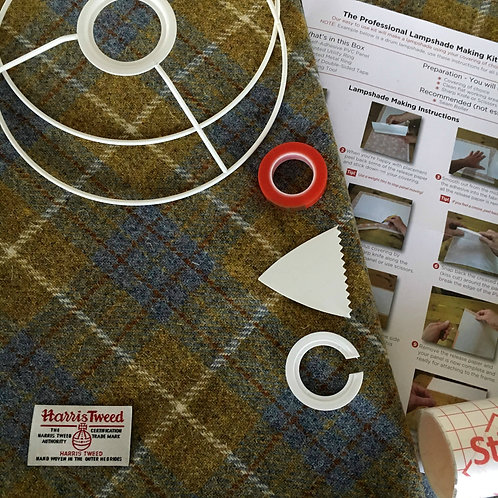 Blue & Mustard Tartan Harris Tweed - DIY Lampshade Kit