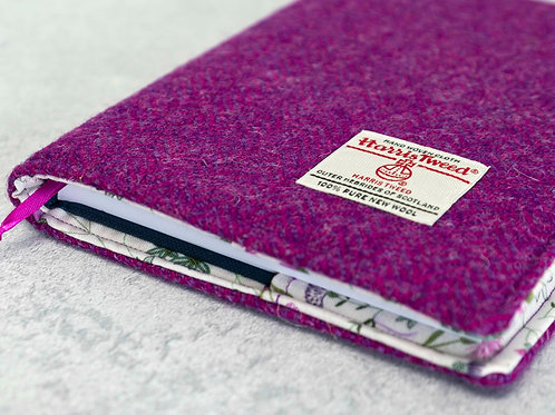 Pink & Purple Herringbone Harris Tweed Padded A5 Notebook Cover