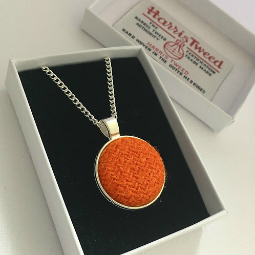 Orange Harris Tweed Necklace