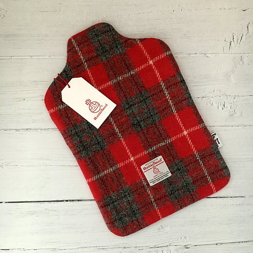 Red & Grey Tartan Harris Tweed Hot Water Bottle Cover