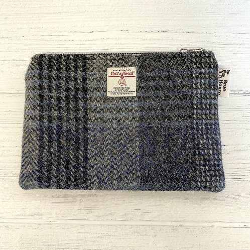 Black & Blue Check Harris Tweed Large Pouch Purse