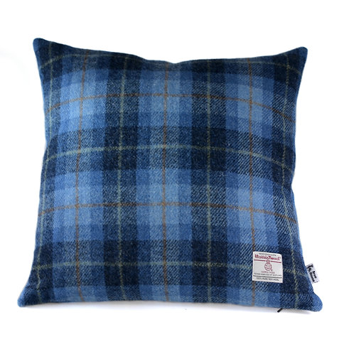 Blue Tartan Harris Tweed Cushion Cover