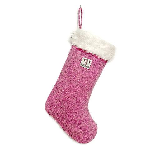 Pink Harris Tweed Christmas Stocking