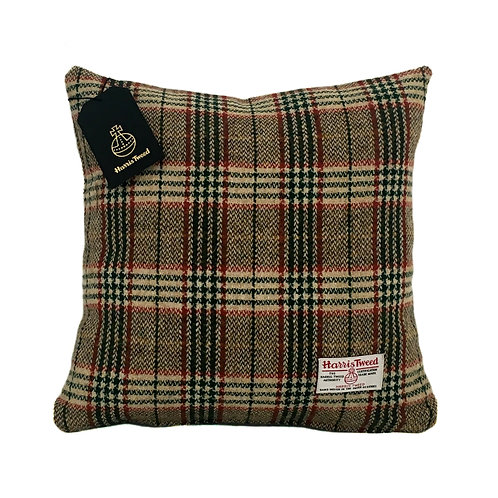 Cream, Green and Red Tartan Check Harris Tweed Cushion Cover