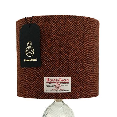 Chocolate Brown & Orange Herringbone Harris Tweed Lampshade