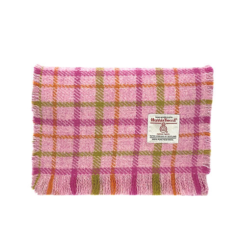 Pink Candy Check Harris Tweed Luxury Fringed Scarf