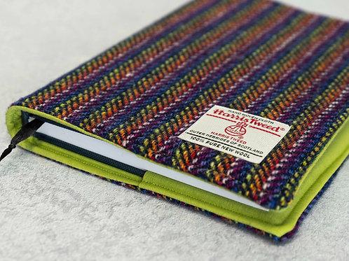 Navy Rainbow Stripe Herringbone Harris Tweed Padded A5 Notebook Cover