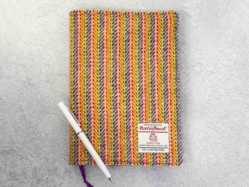 Rainbow Herringbone Stripe Harris Tweed Padded A5 Notebook Cover