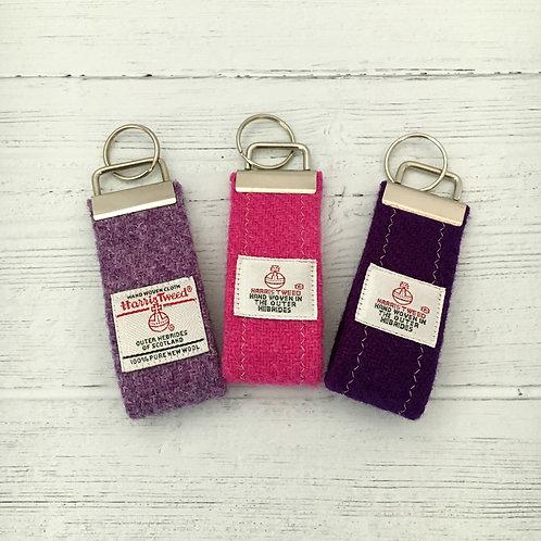 Pink & Purple Plain Selection - Harris Tweed Keyrings