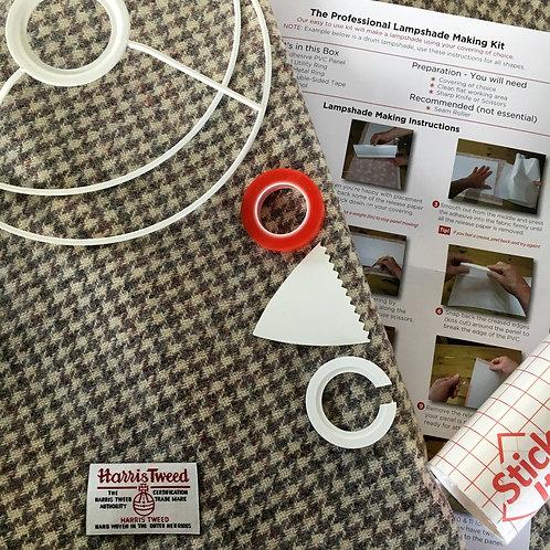 Beige & Grey Houndstooth Harris Tweed - DIY Lampshade Kit