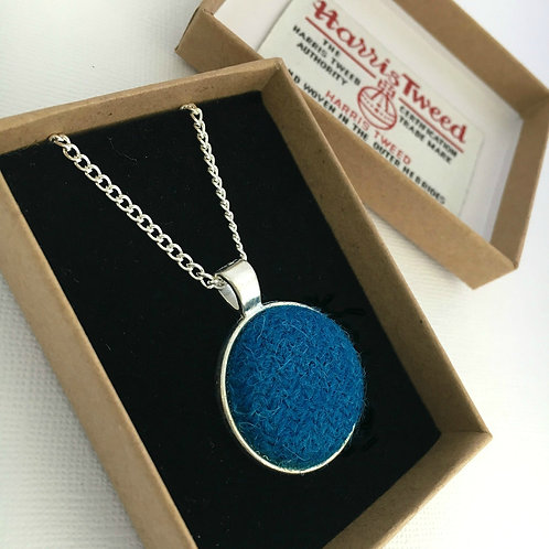 Kingfisher Blue Harris Tweed Necklace