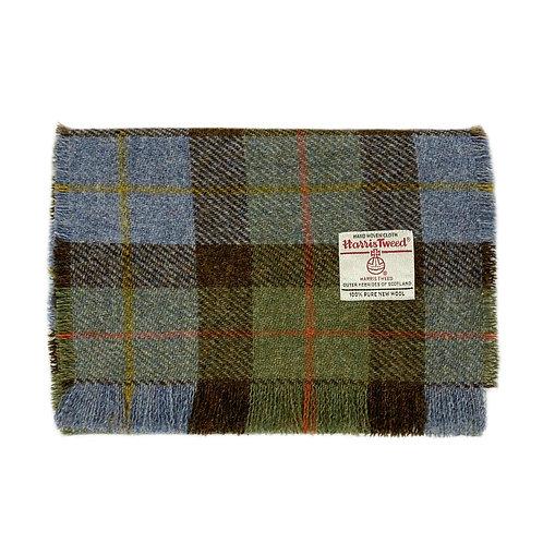 Hunting MacLeod Green and Blue Tartan Check Harris Tweed Luxury Fringed Scarf