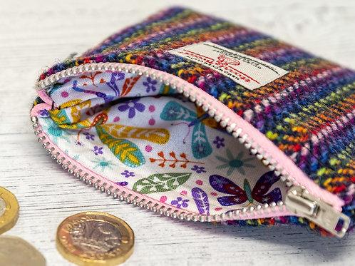 Navy Rainbow Stripe Herringbone Harris Tweed Coin Purse