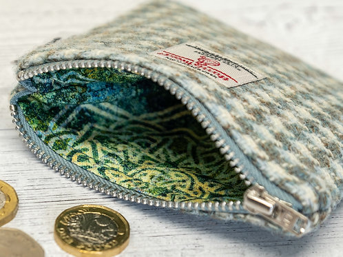 Mint Green & Beige Houndstooth Harris Tweed Coin Purse