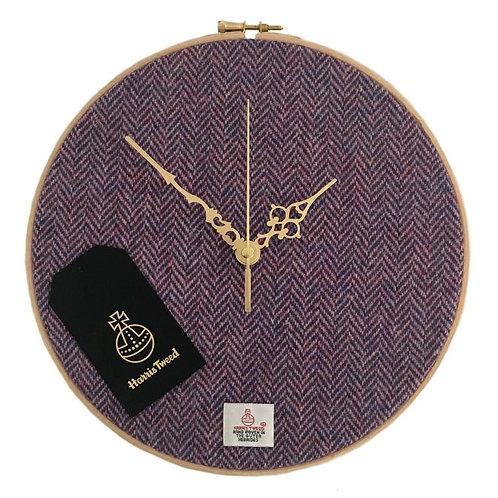 Lilac Pink/Blue Herringbone Harris Tweed Wall Clock