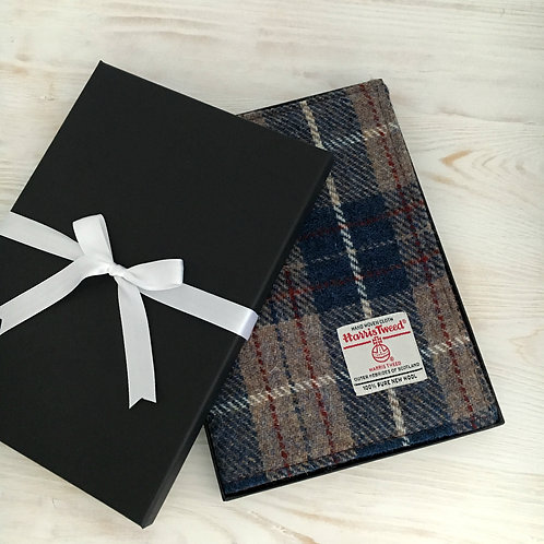 Persian Blue and Beige Tartan Harris Tweed Padded A5 Notebook Cover
