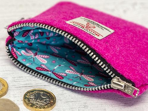 Bright Pink Harris Tweed Coin Purse