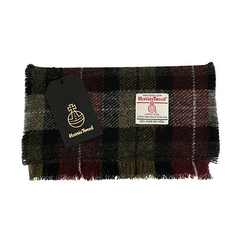 Navy & Burgundy Tartan Check Harris Tweed Luxury Fringed Scarf