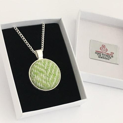 Lime Green Herringbone Harris Tweed Necklace