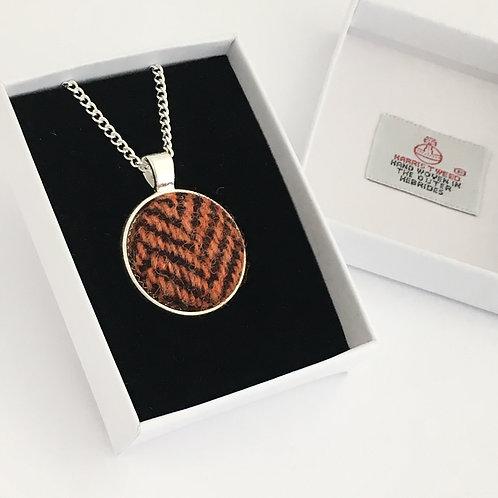 Chocolate Brown & Orange Herringbone Harris Tweed Necklace