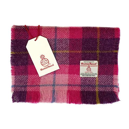 Pink & Dark Violet Tartan Check Harris Tweed Luxury Fringed Scarf