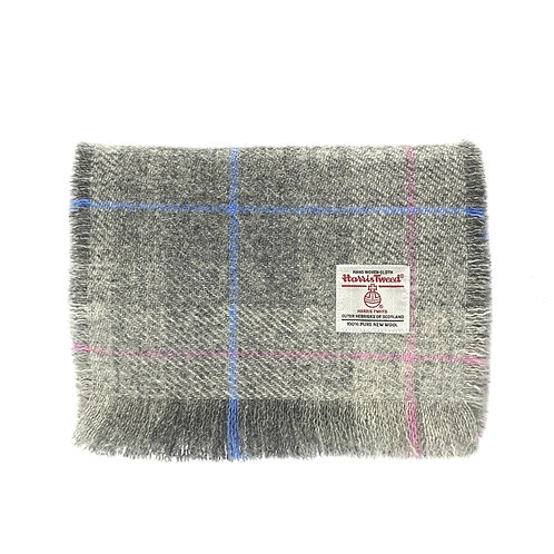 Pastel Grey Tartan Harris Tweed Luxury Fringed Scarf