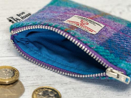 Violet & Kingfisher Blue Tartan Harris Tweed Coin Purse