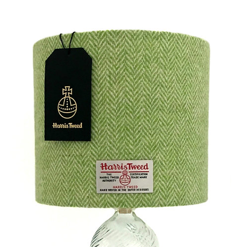 Lime Green & White Herringbone Harris Tweed Lampshade