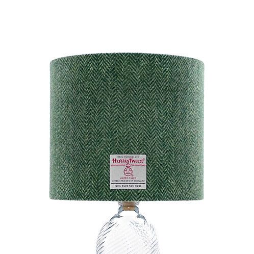 Mid Green & Light Green Herringbone Harris Tweed Lampshade