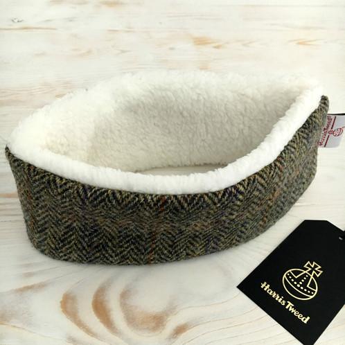 Harris Tweed Earwarmers With Soft Faux Fur Fleece Lining - Pure New Wool -  Brown Multi Rainbow Herringbone 50269b0859a