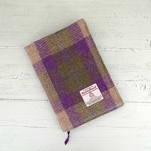 Lilac & Green Tartan Check Harris Tweed Padded A5 Notebook Cover