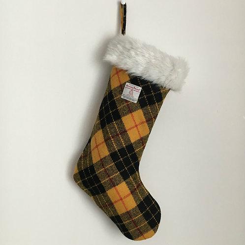 Yellow & Black MacLeod Tartan Harris Tweed Christmas Stocking