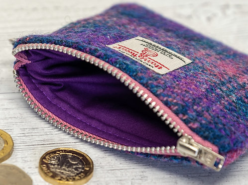 Purple & Pink Ombre Harris Tweed Coin Purse