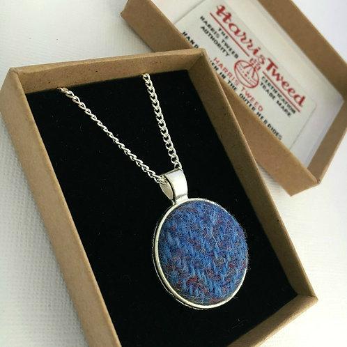 Dusky Blue Herringbone Harris Tweed Necklace