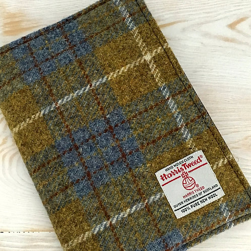 Blue and Mustard Tartan Harris Tweed Padded A5 Notebook Cover