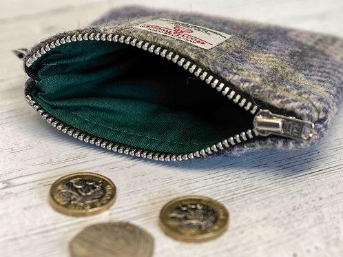 Lilac and Green Tartan Harris Tweed Coin Purse
