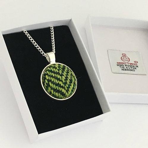 Dark Green & Mid Green Herringbone Harris Tweed Necklace