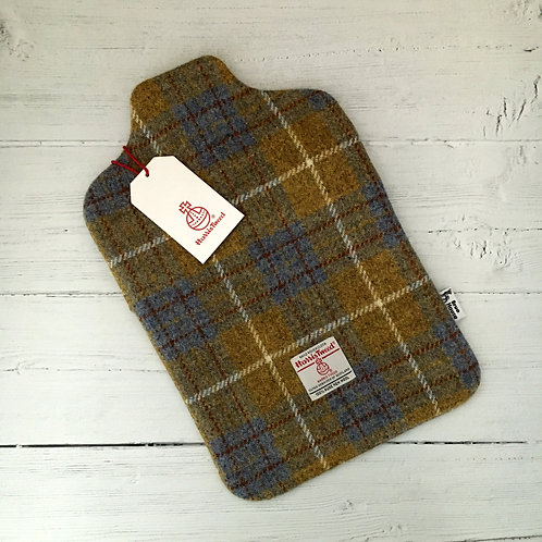 Blue & Mustard Tartan Harris Tweed Hot Water Bottle Cover