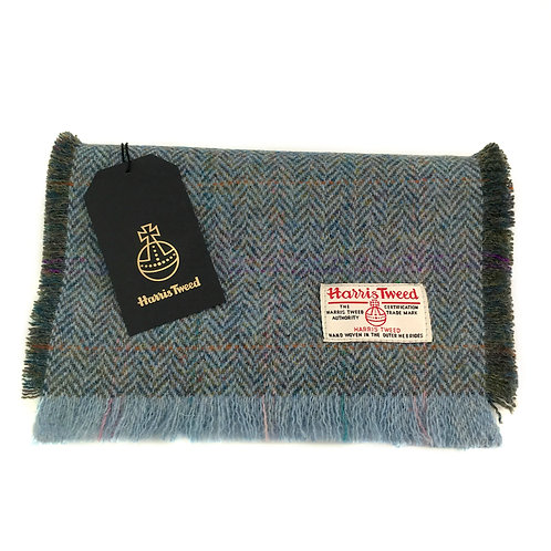 Rainbow Blue Herringbone Harris Tweed Luxury Fringed Scarf
