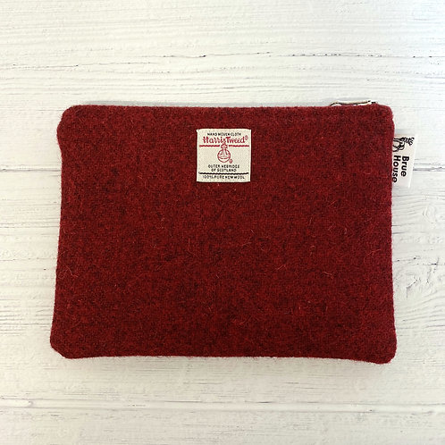 Deep Red Harris Tweed Large Pouch Purse