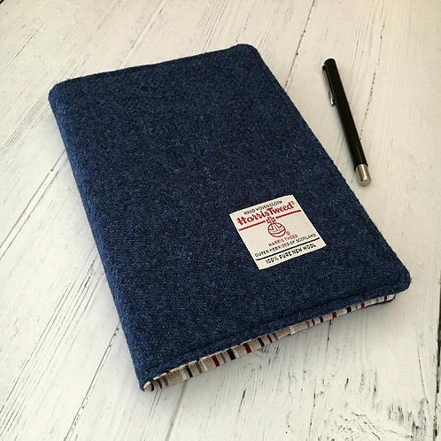 Persian Blue Harris Tweed Padded A5 Notebook Cover